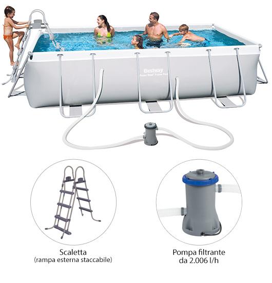 Piscina power steel frame rettangolare 404x201x100 cm for Bestway piscine e accessori