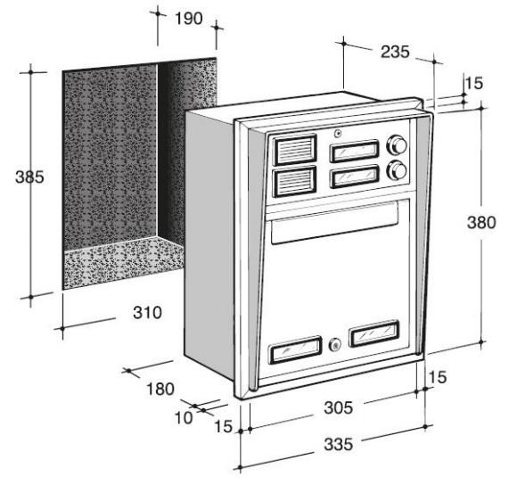 cassetta postale da incasso a 2 pulsanti in alluminio silmec