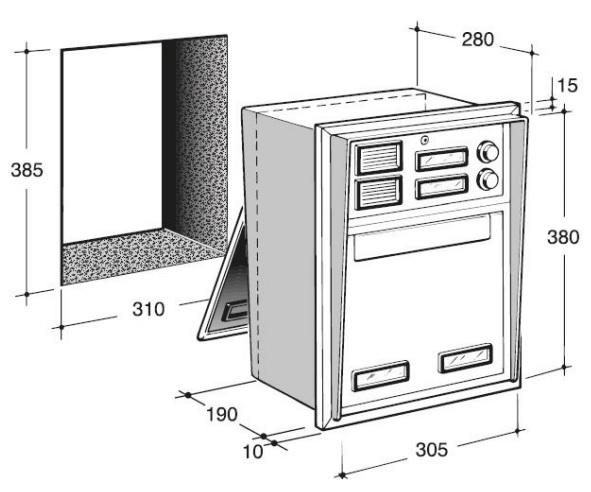 cassetta postale incasso passante a 2 pulsanti in alluminio silmec